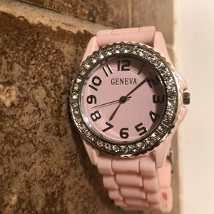 PINK FACE & RUBBER GENEVA WATCH WITH CRYSTAL RIM
